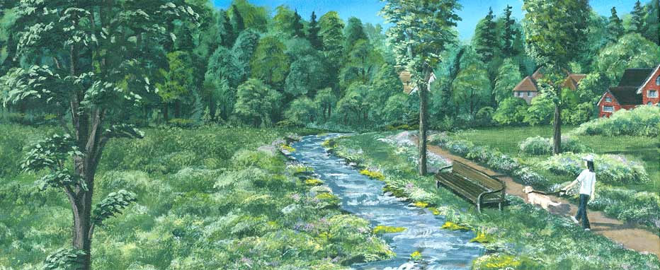 Painting of the park area of Westbrook Meadows
